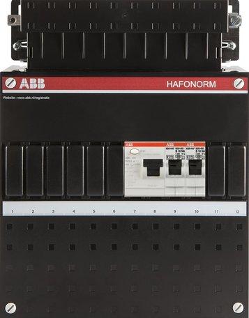 Meterkast ABB 1F 2 groepen 1 aardlek (220x280-ZH)