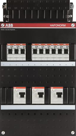 Meterkast ABB 3-fase 9 groepen (220x390-ZH)