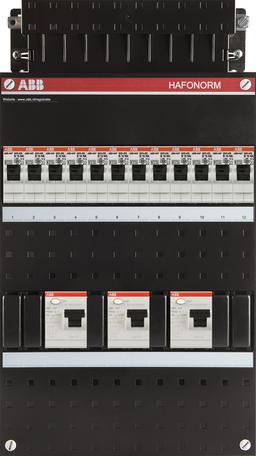Meterkast ABB 3-fase 12 groepen (220x390-ZH)