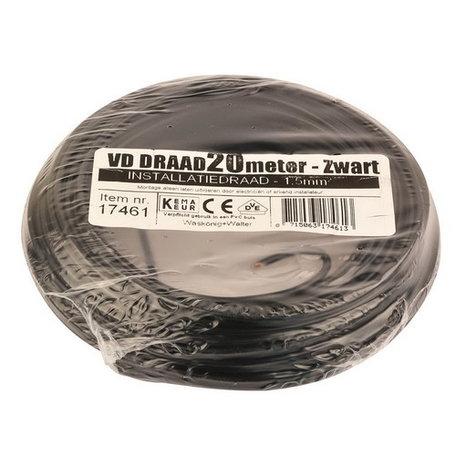 VD draad zwart 1,5mm (20 meter)
