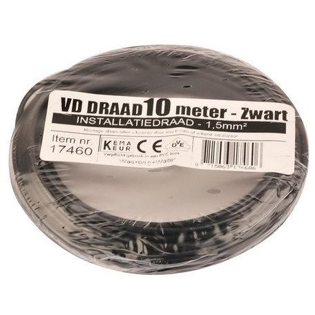 VD draad zwart 1,5mm (10 meter)