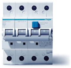 Hager ADM460G aardlekautomaat 4P C10A 30mA (traag)