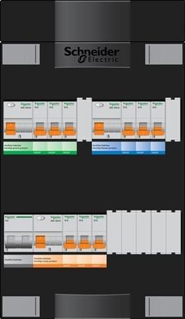 Groepenkast Schneider 9 groepen 1-fase + fornuisgroep