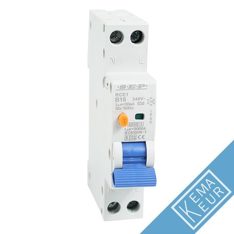SEP compacte aardlekautomaat 1P+N B16A 30mA