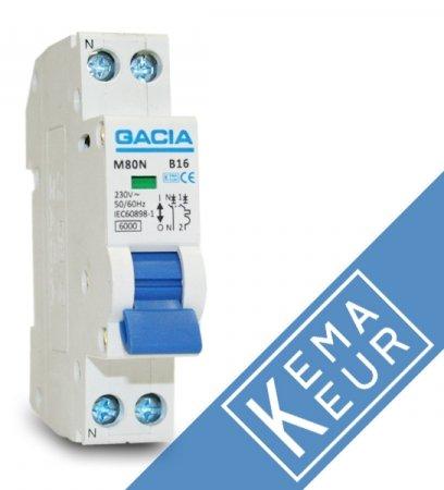 GACIA installatieautomaat 1P+N C16A (traag)