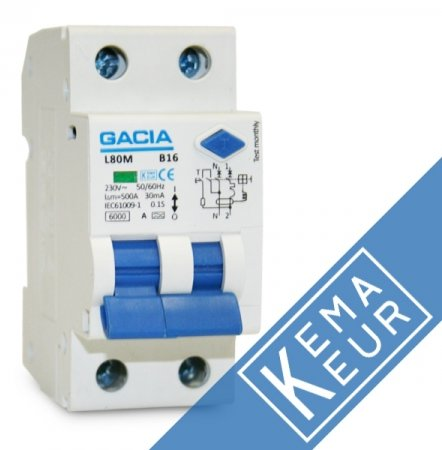 GACIA aardlekautomaat 2P C16A 30mA (traag)