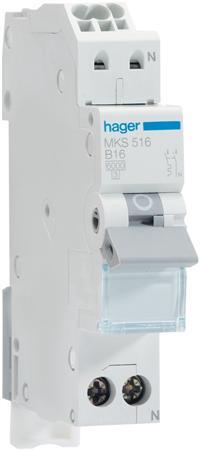 Hager installatieautomaat 1P+N C16A (QuickConnect)