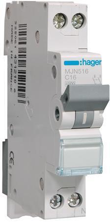 Hager installatieautomaat MJN516 1P+N C16A