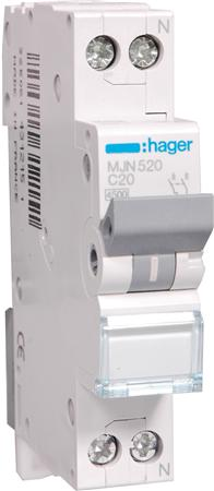 Hager installatieautomaat MJN520 1P+N C20A