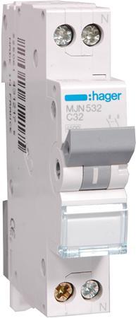 Hager installatieautomaat MJN532 1P+N C32A