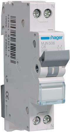 Hager installatieautomaat MJN506 1P+N C6A