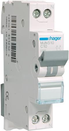 Hager installatieautomaat MJN510 1P+N C10A