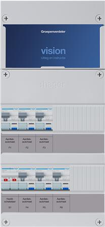Groepenkast Hager VKG33G 6 aardlekautomaten 1F