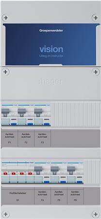 Groepenkast Hager VKG33P 6 aardlekautomaten 3F