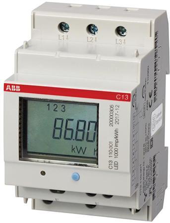 ABB kWh-meter 3 fase 40A enkel tarief