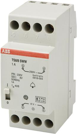 Beltransformator ABB 8 Volt met aan/uit knop