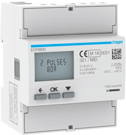 Hager ECP380D kWh-meter 3 fase 80A (Nieuw)