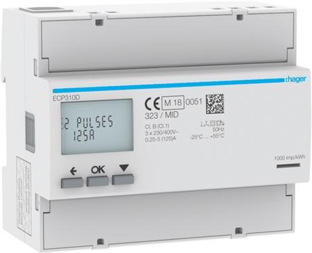 Hager ECP310D kWh-meter 3 fase 125A (Nieuw)