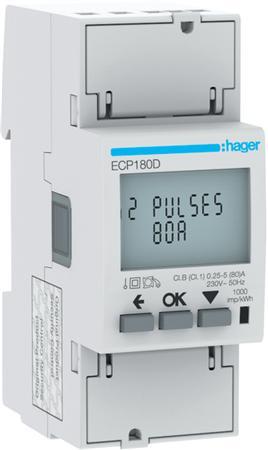 Hager ECP180D kWh-meter 1 fase 80A (Nieuw)